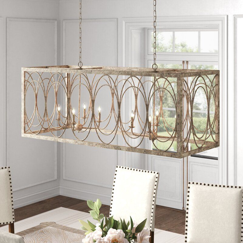 Troutt Candle Style Square Rectangle Chandelier Dinning Room Light Fixture Rectangle Chandelier Dining Chandelier