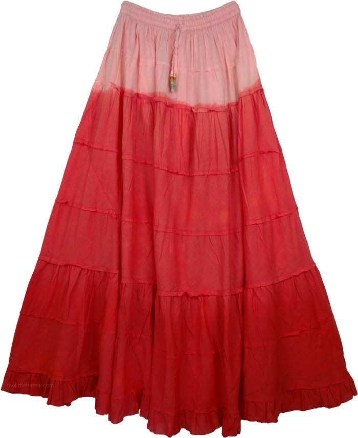 18d6840e45 Red Robbin Ombre Frills Long Skirt in 2019 | Boho Maxi skirts | Red ...