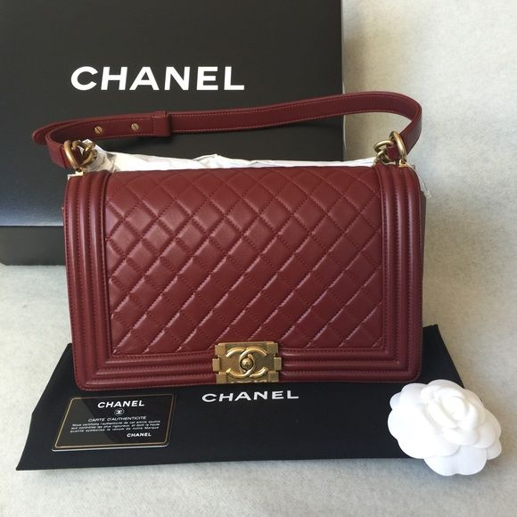224d75d2e6a5 Chanel Boy flap bag medium plus size in dark red Brand new with box, dust  bag, and authenticity card. Dark red lambskin with gold hardware.