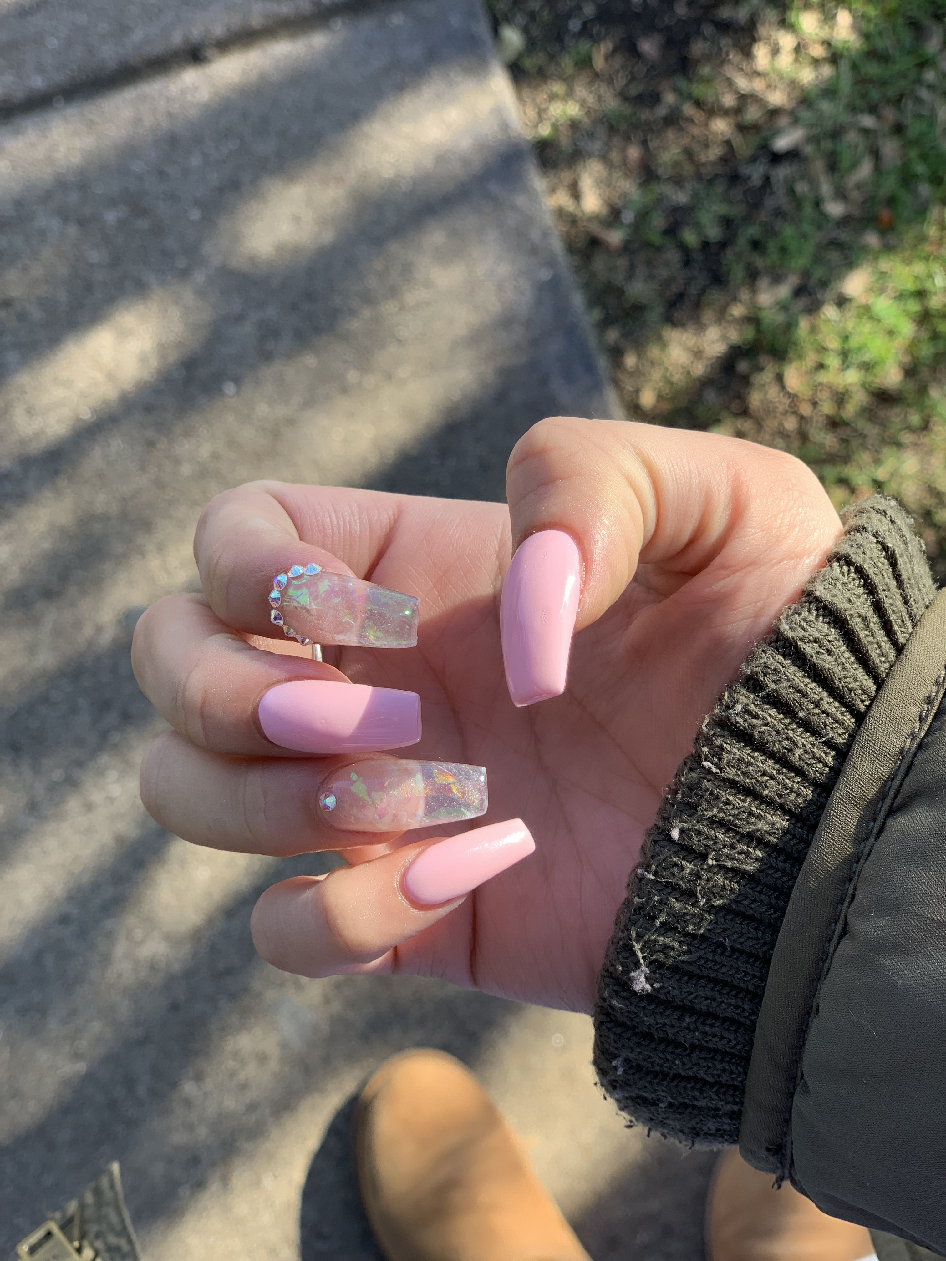 Pink Coffin Nails Coffin Nails Designs February Nails Coffin Shape Nails