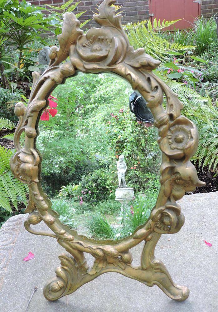 Antique Art NOUVEAU Gold BRONZE Metal Floral Flowers Dresser Mirror c1900sc1900s #ArtNouveau #unknown