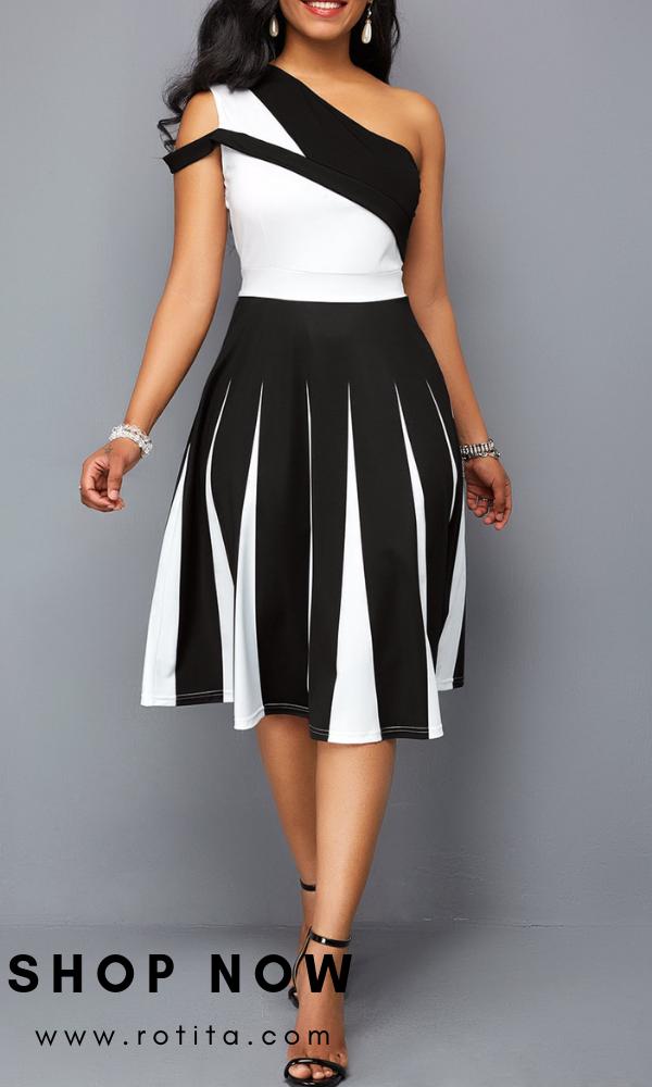 601a77f5abf One Shoulder Color Block High Waist Dress .Fashion dress at www.rotita.com