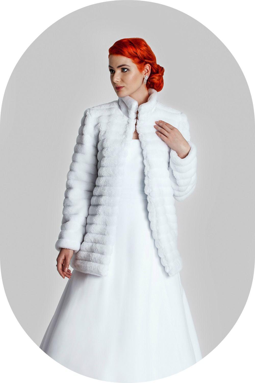 Wintermantel für die Braut / Felljacke aus Nerzimitat zum Brautkleid ...
