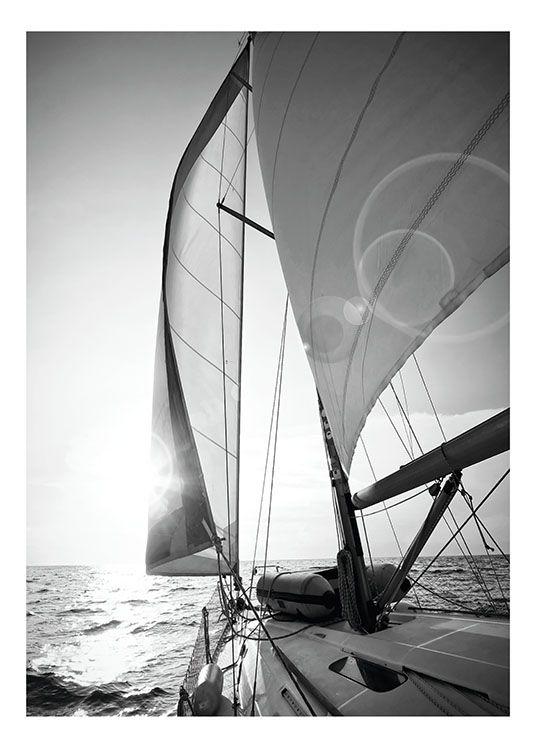 Poster mit schwarz weiß foto schön als komponente in einer bilderwand
