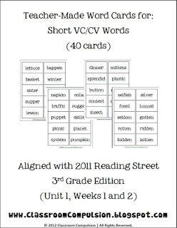 FREE Word Cards For Short VC/CV Words Reading Street  3rd Grade By Classroom  Cv Words