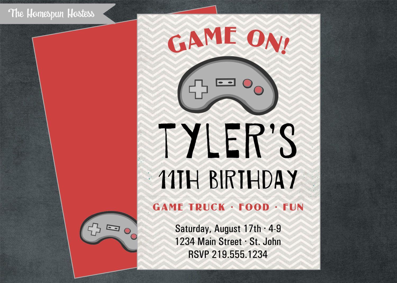 Printable VIDEO GAME Party Invite - Game Truck, Minecraft, chevron ...