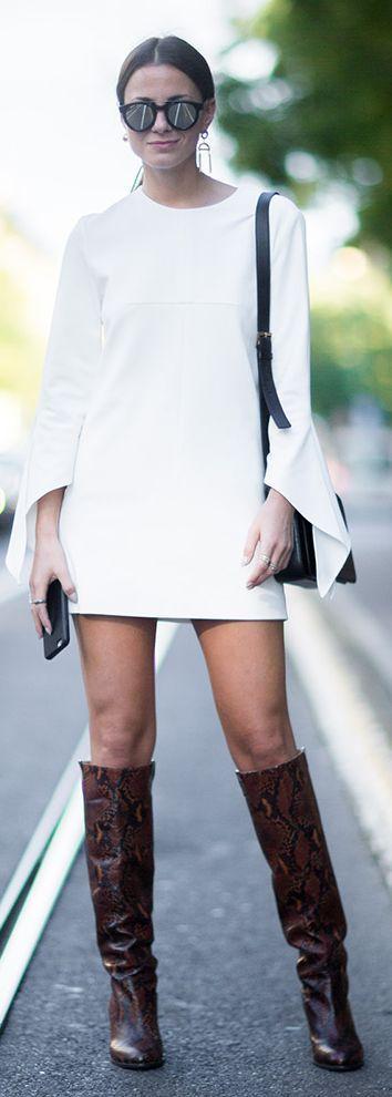 Brown Snake Tall Boots White Crepe Cutout Minii Dress High Street Fall Inspo by Fashionvibe