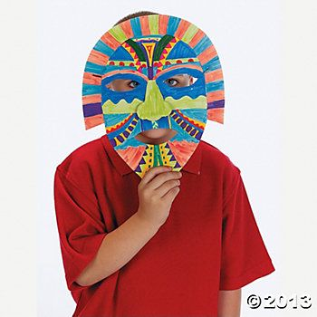 Diy awesome aztec masks k12 pinterest aztec masking for Aztec mask template