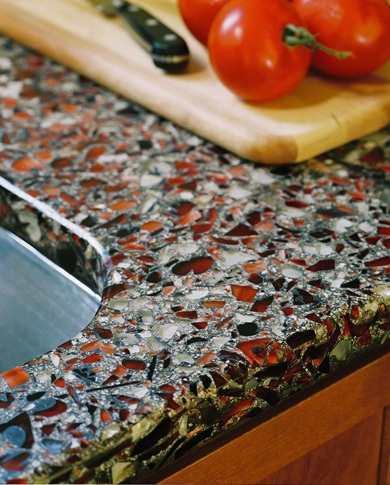 High Quality Vetrazzo Recycled Glass Countertop Firehouse Red With Patina