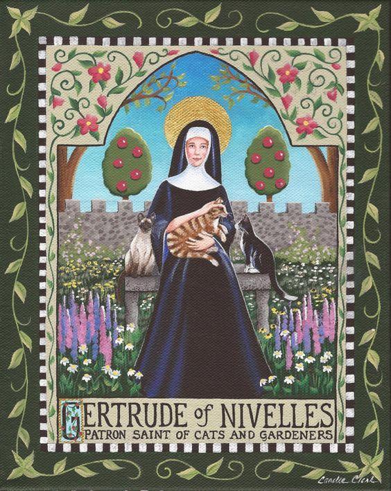 St Gertrude Patron Saint of Cats and Gardners