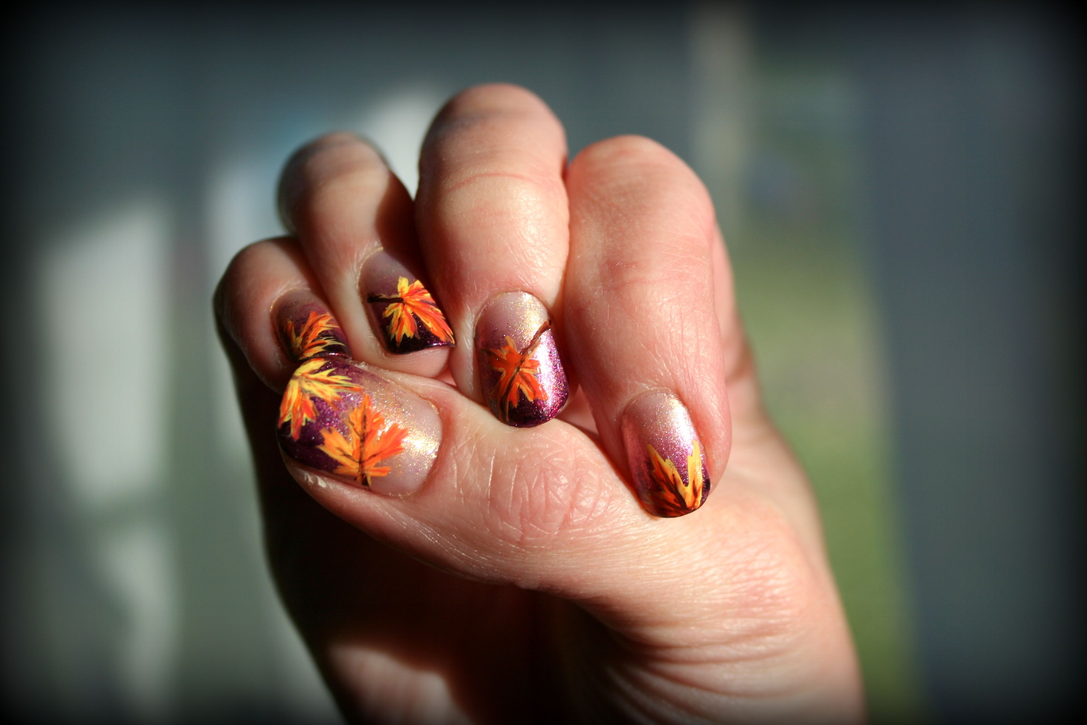 Purple Fall Leaves | Thanksgiving nails, Hair and beauty and Yellow ...