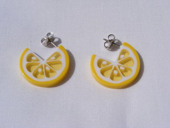 Avon vintage lemon slice earrings