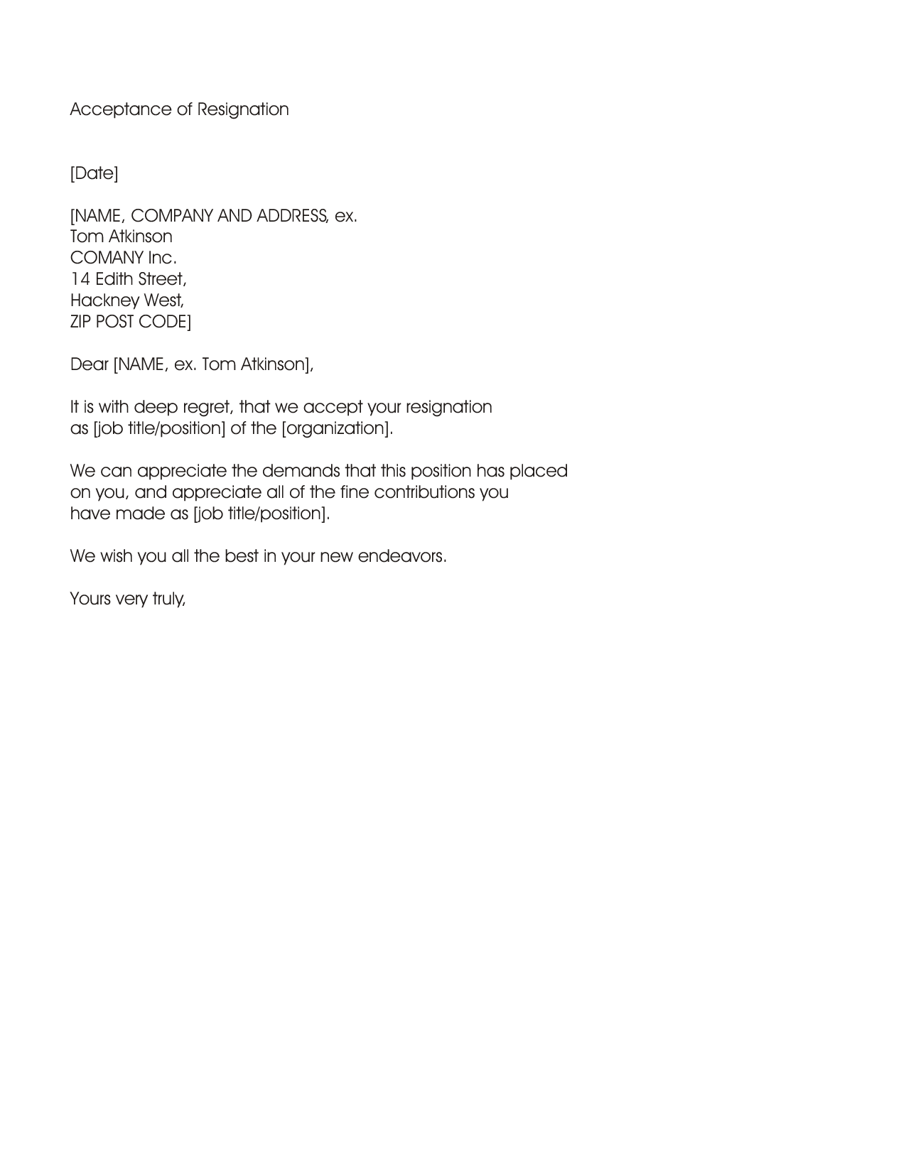 Resignation acceptance letter letter example from accepting an resignation acceptance letter letter example from accepting an employees resignation and confirming the date the resignation is effective spiritdancerdesigns Image collections