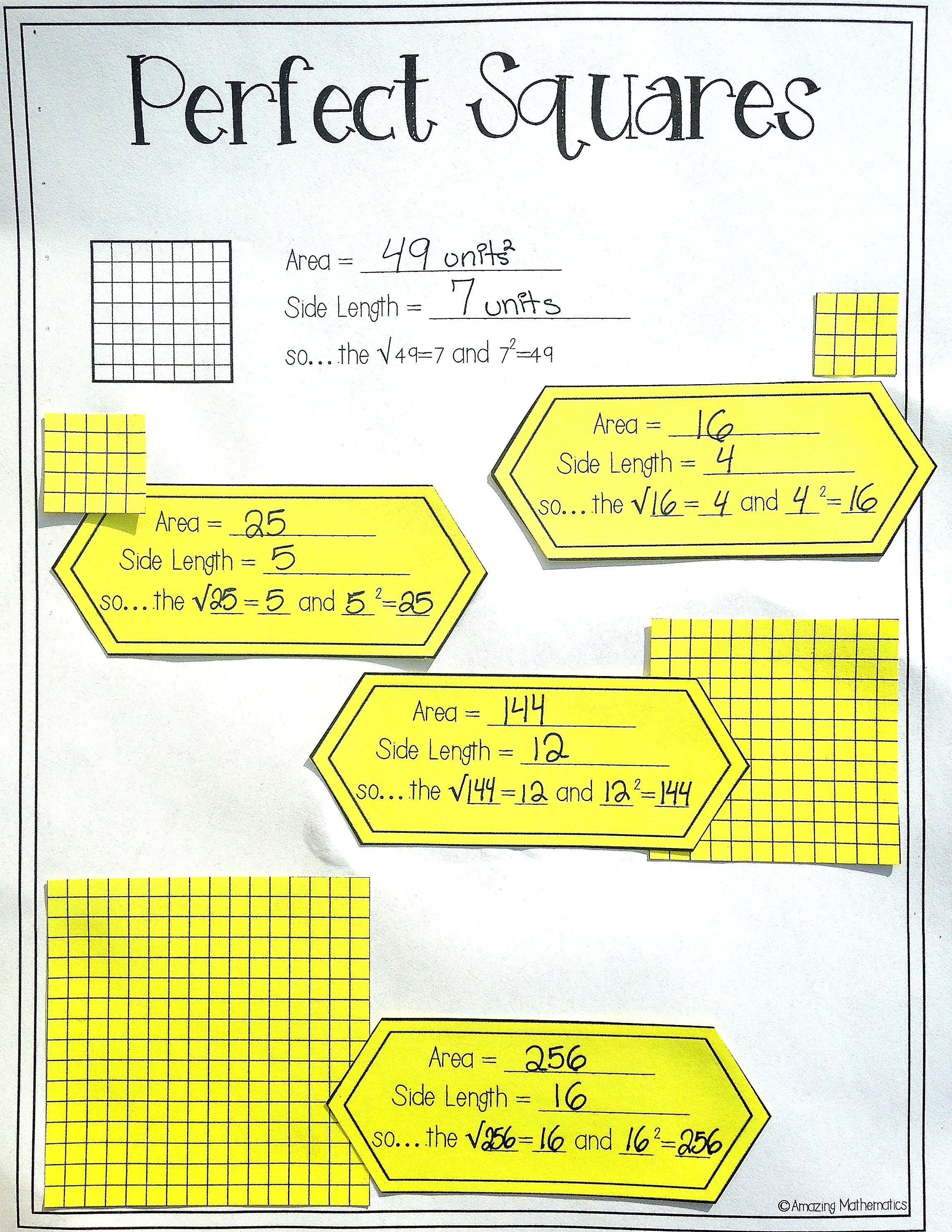 worksheet Perfect Square Worksheets 8th Grade square roots of perfect squares interactive notes daily quizzes love this exploring and activity would be for our