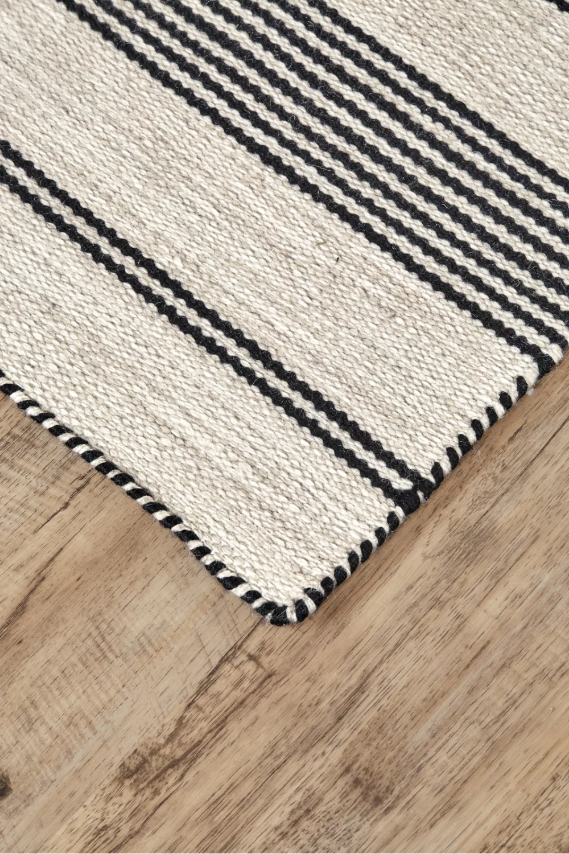 Alicea Striped Handmade Flatweave Black Area Rug In 2021 Farmhouse Area Rugs Black Area Rugs Kitchen Area Rugs