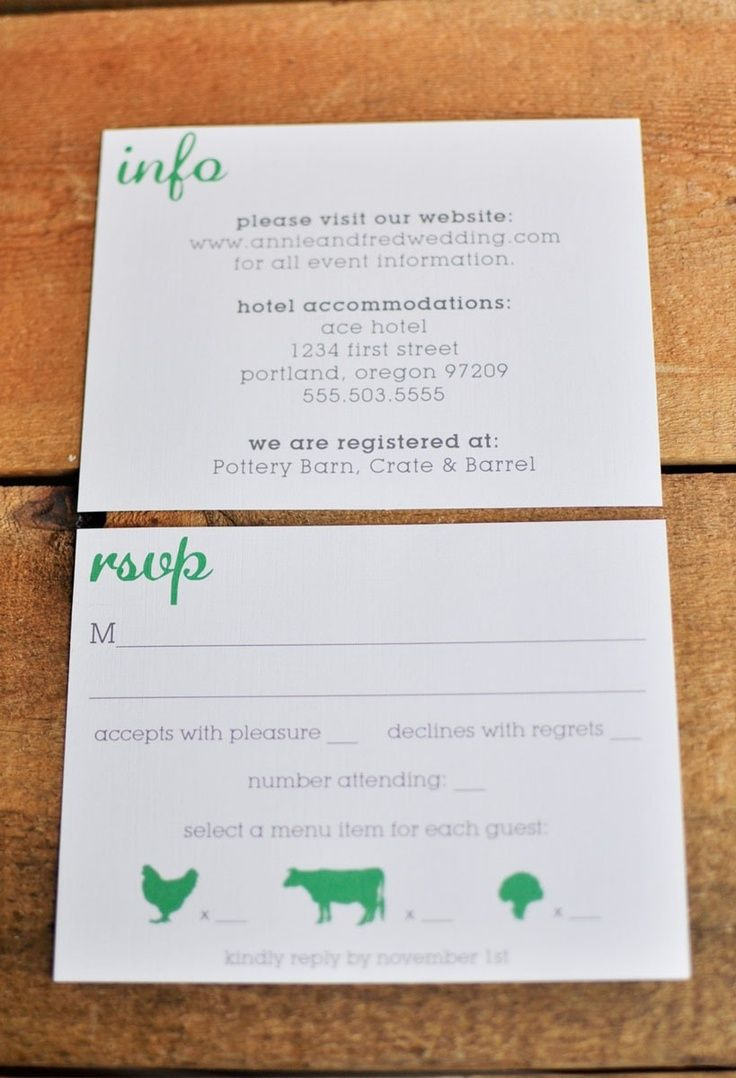 Rsvp Postcard With Food Choice