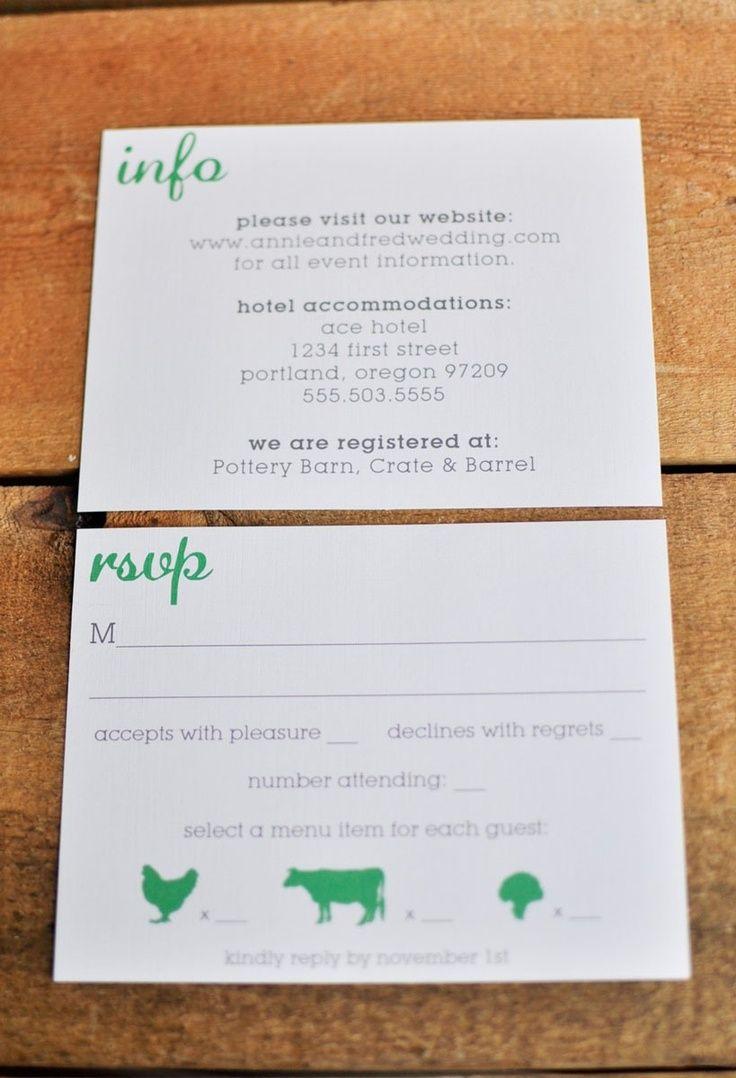 rsvp postcard with food choice