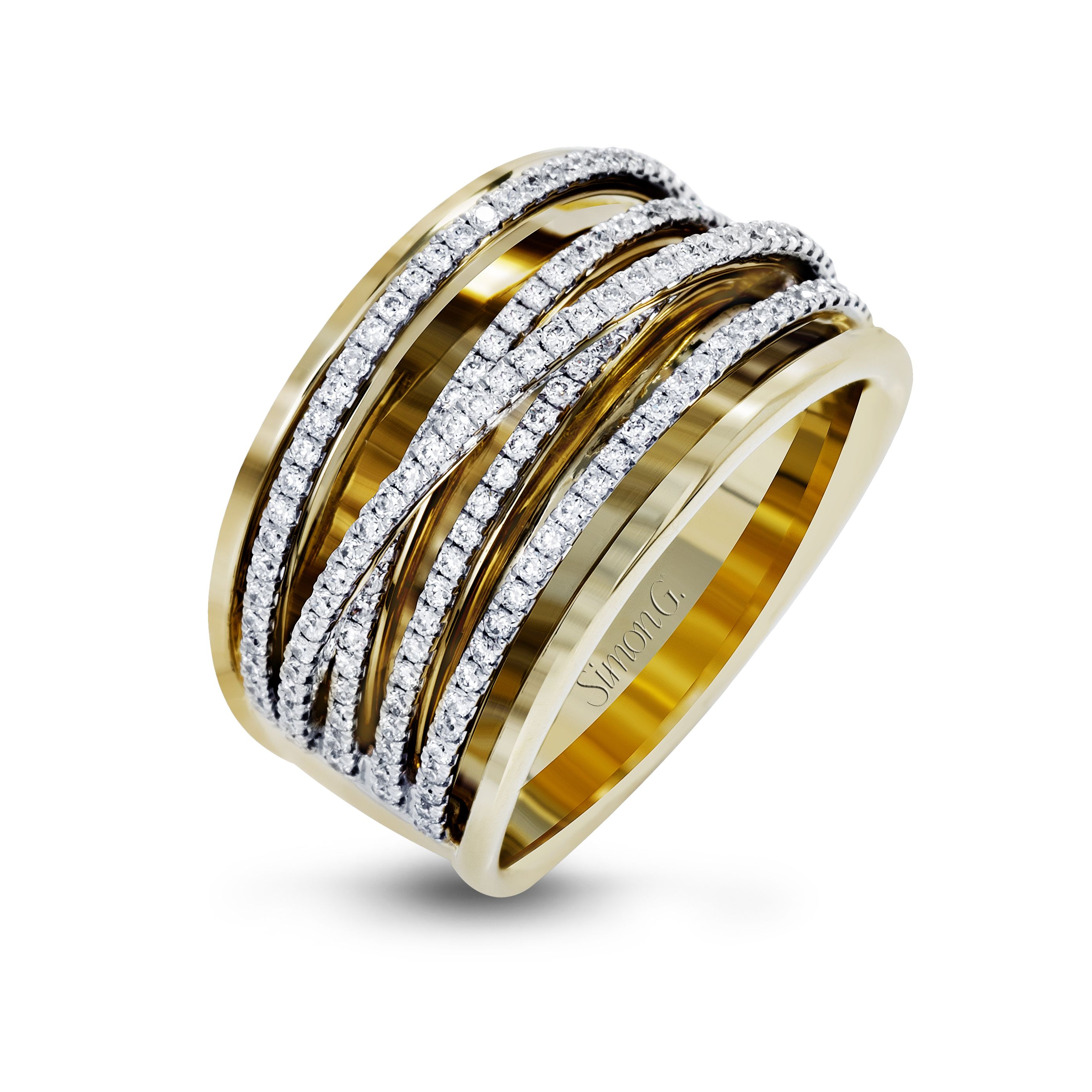 Style MR2664 18kt Yellow Gold Fashion Ring with Criss