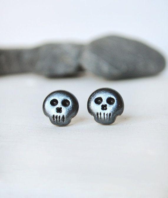 Mens Earrings Skull For Men Steampunk Goth Studs Geek Uni Black Stud Jewelry