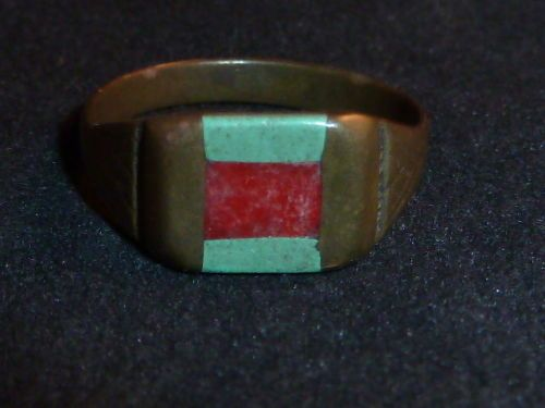 Rare Inlaid WW1 Trench Art Ring