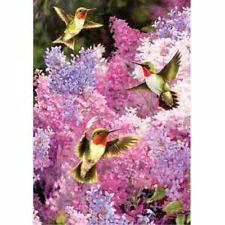 SUMMER Purple Lilacs BUSH 3 BOLD Emerald HummingBirds Pink 2381MODEL Large Flag