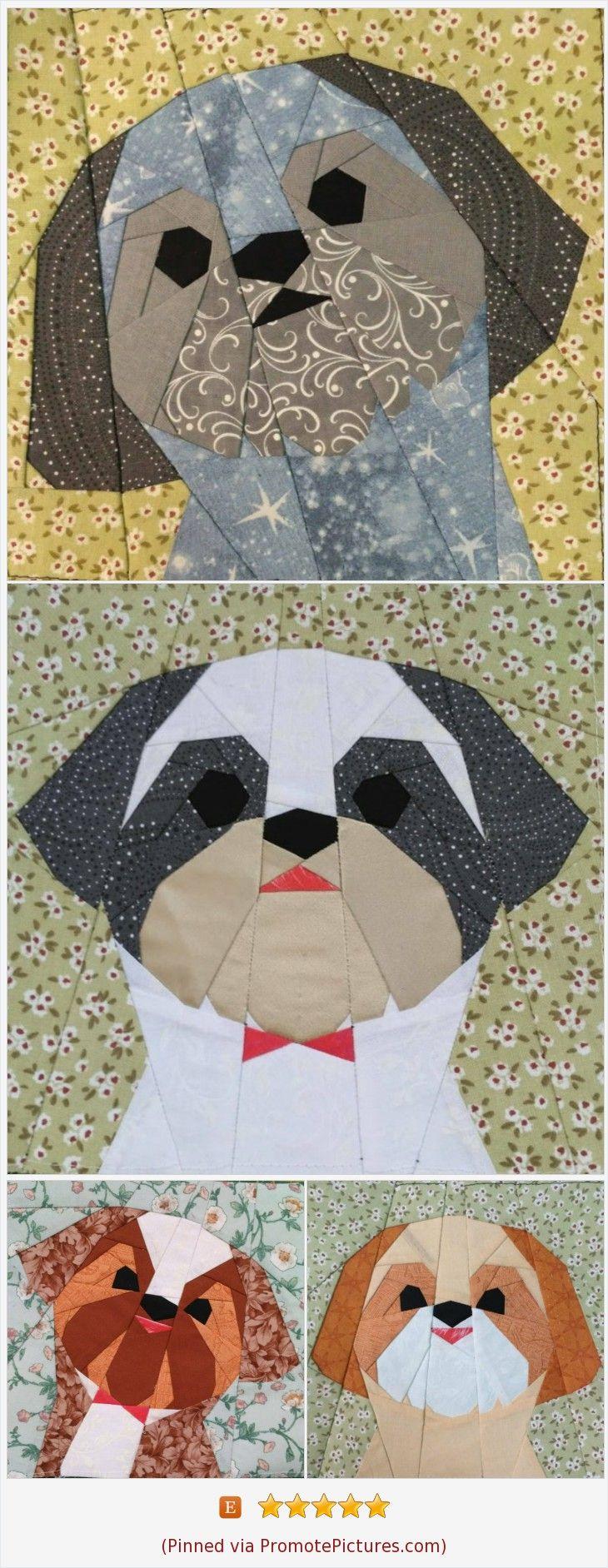 Shih Tzu boy quilt block pattern