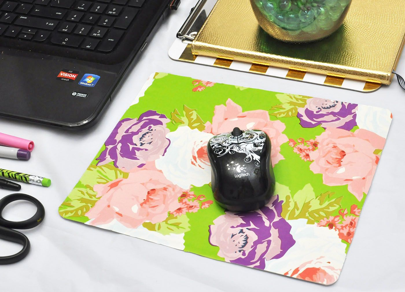 Make A Custom Mouse Pad With Wrapping Paper Diy Mouse Pad