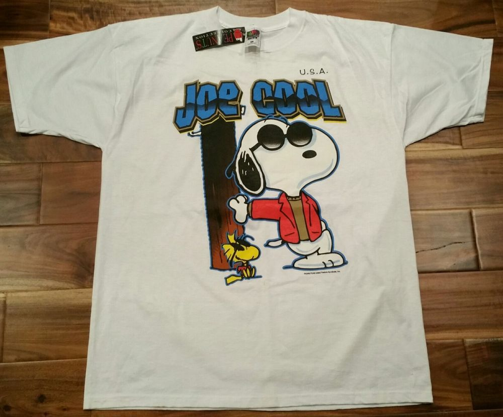 544c78d8b9f Snoopy Joe Cool Woodstock USA White T-Shirt Men XL Peanuts Collection New  w Tags  FruitoftheLoom  GraphicTee
