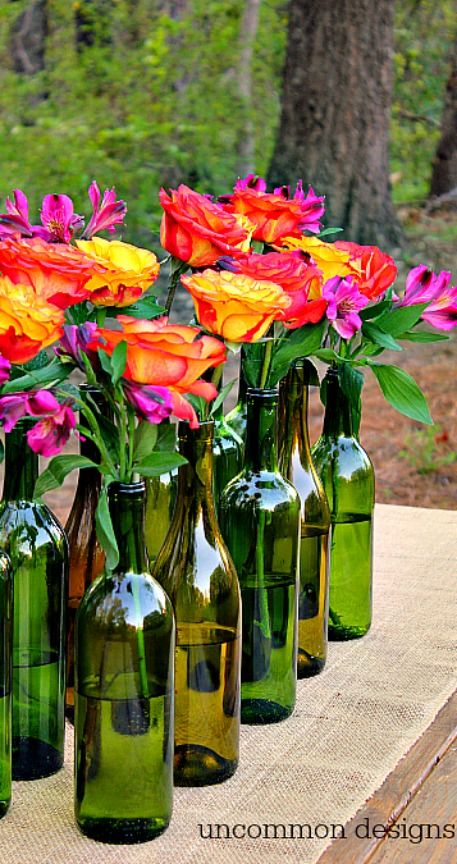 Easy and elegant wine bottle centerpiece summer spring
