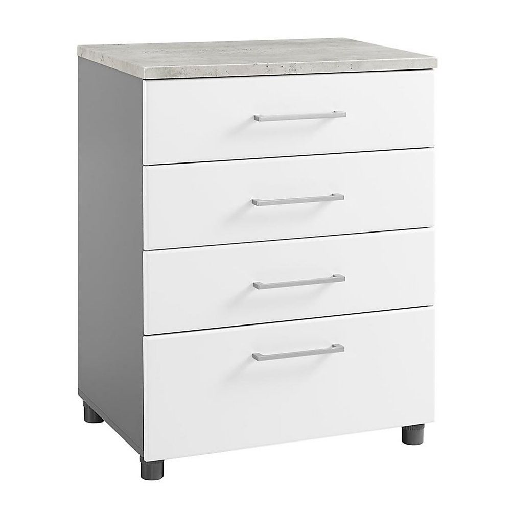 Best Ameriwood Home Latitude 4 Drawer Base Cabinet White Gray 400 x 300