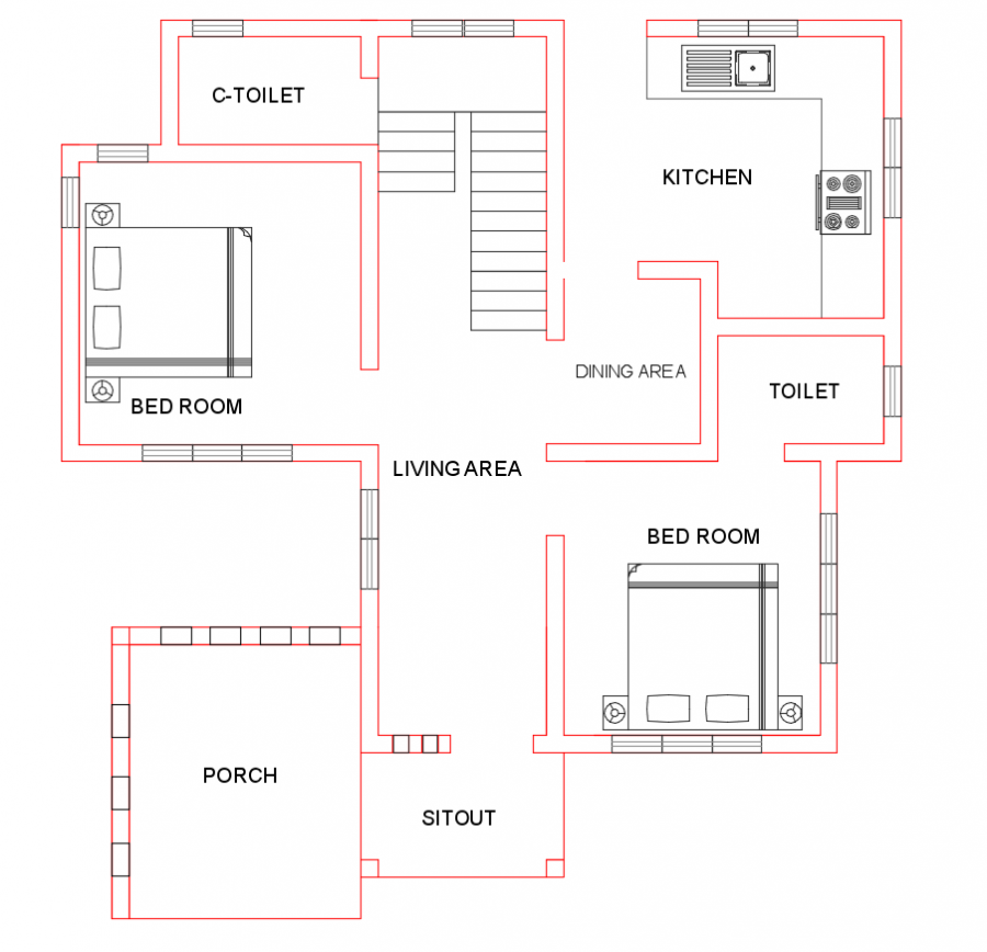 Free Indian House Plan 1500 Sq Ft 4 Bedroom 3 Attached Bath Indian House Plans House Plans Free House Plans