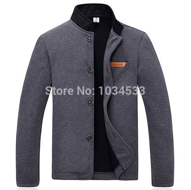 New Style Fleece Jacket Coat Men's Casual Slim Cotton Collar Single  breasted Long Sleeved Winter Warm