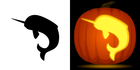 Narwhal Pumpkin Carving Stencil Free Pdf Pattern To Download And