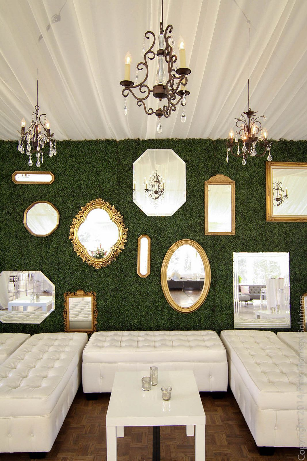 Custom Boxwood Hedge Wall Gold Mirrors Chandeliers And Lounge Furniture By Pink Monkey