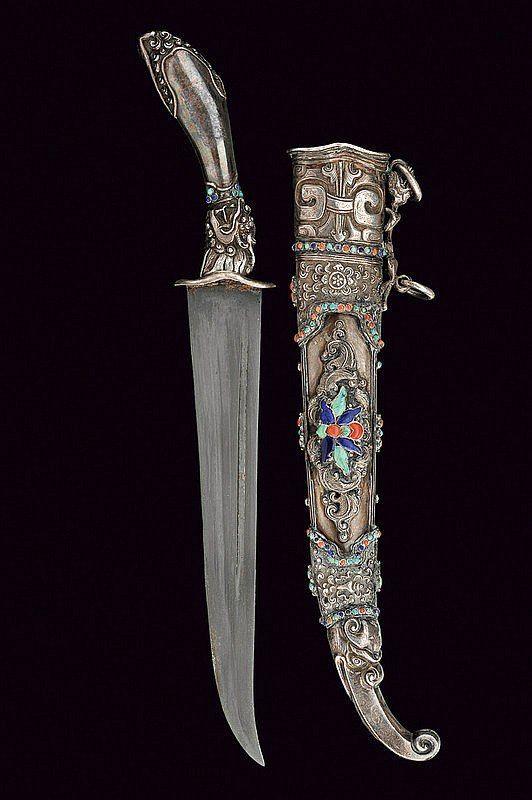 Китай 19 в рукоять и ножны - серебро, бирюза, лазурит, коралл