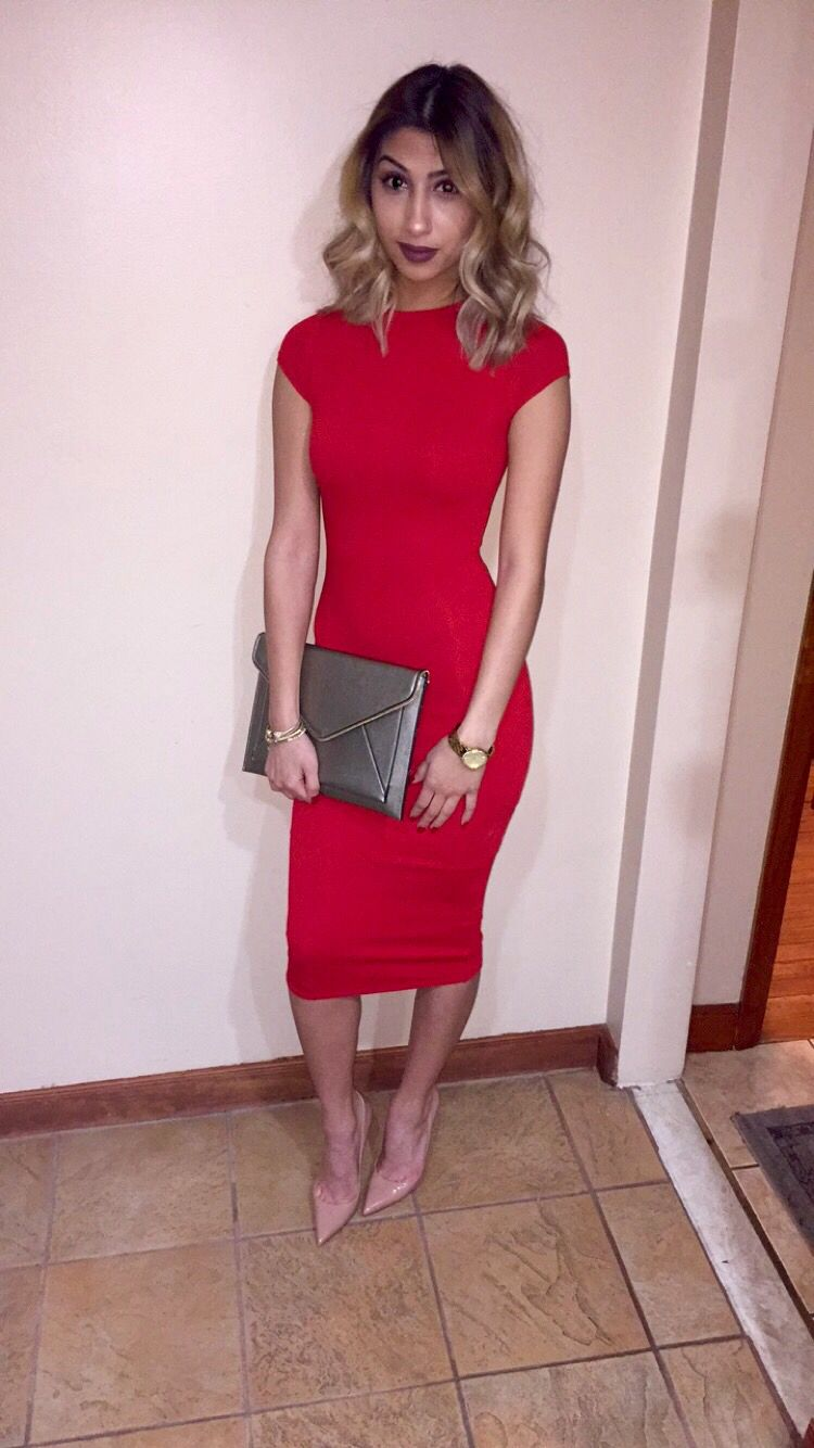 Red dress, nude Louboutins, and gold clutch