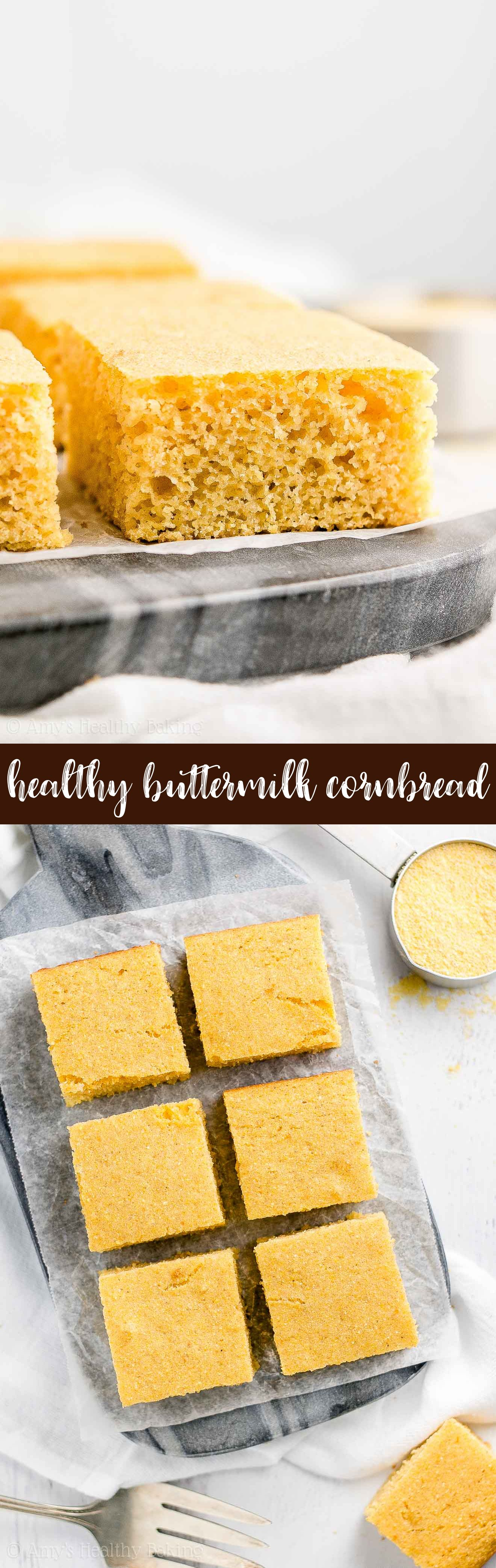 Healthy Buttermilk Cornbread Only 54 Calories It S So Moist Tender Thanks To Greek Yogurt And Buttermilk Cornbread Clean Eating Desserts Healthy Sweets