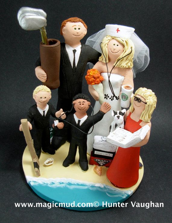 Wedding Cake Topper With Our Children CakeTopper Mixed Family Blended