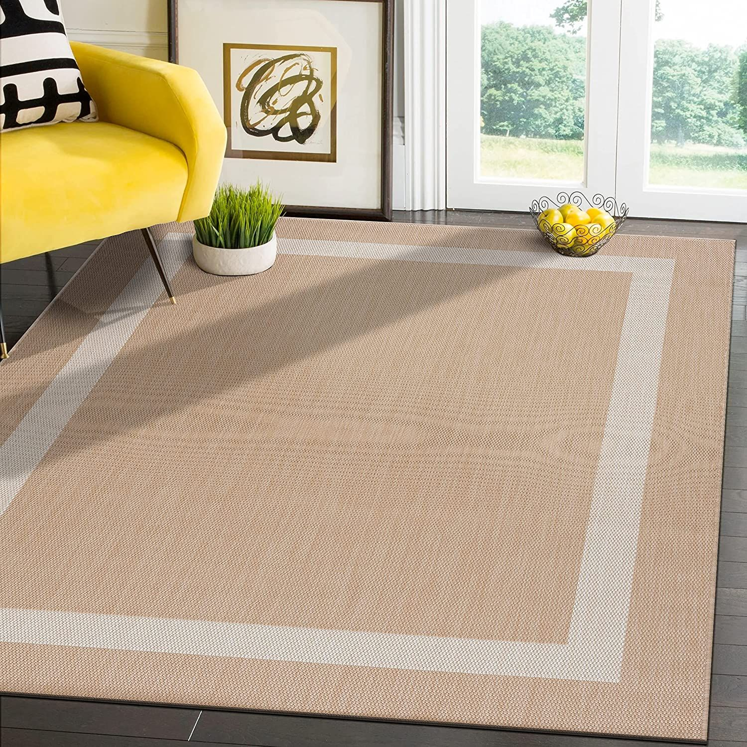 Modern Area Rugs for Indoor Outdoor or Bordered Beige / White   6x9 Gallery