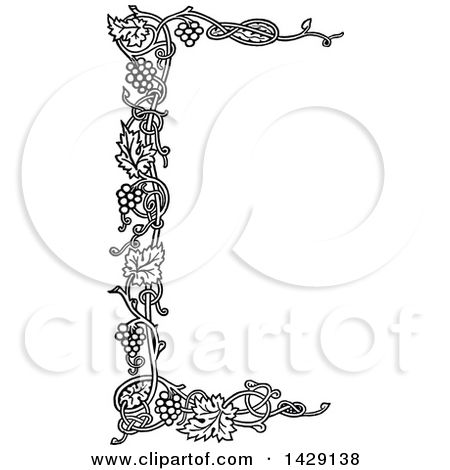 Clipart Of A Vintage Black And White Grape Vine Border Royalty Free Vector Illustration By Prawny Vintage Free Vector Illustration Vine Border Vector Free
