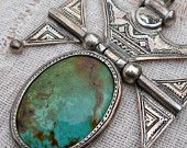 Turquoise and Sterling Tuareg Pendant Hinged and Etched and Fabulous