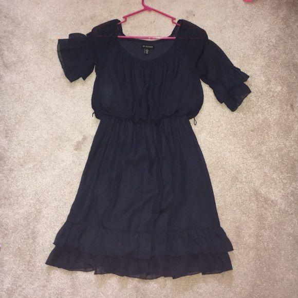 navy dress half sleeves with Ruffles very cute with a belt Jodi Kristopher Dresses Midi