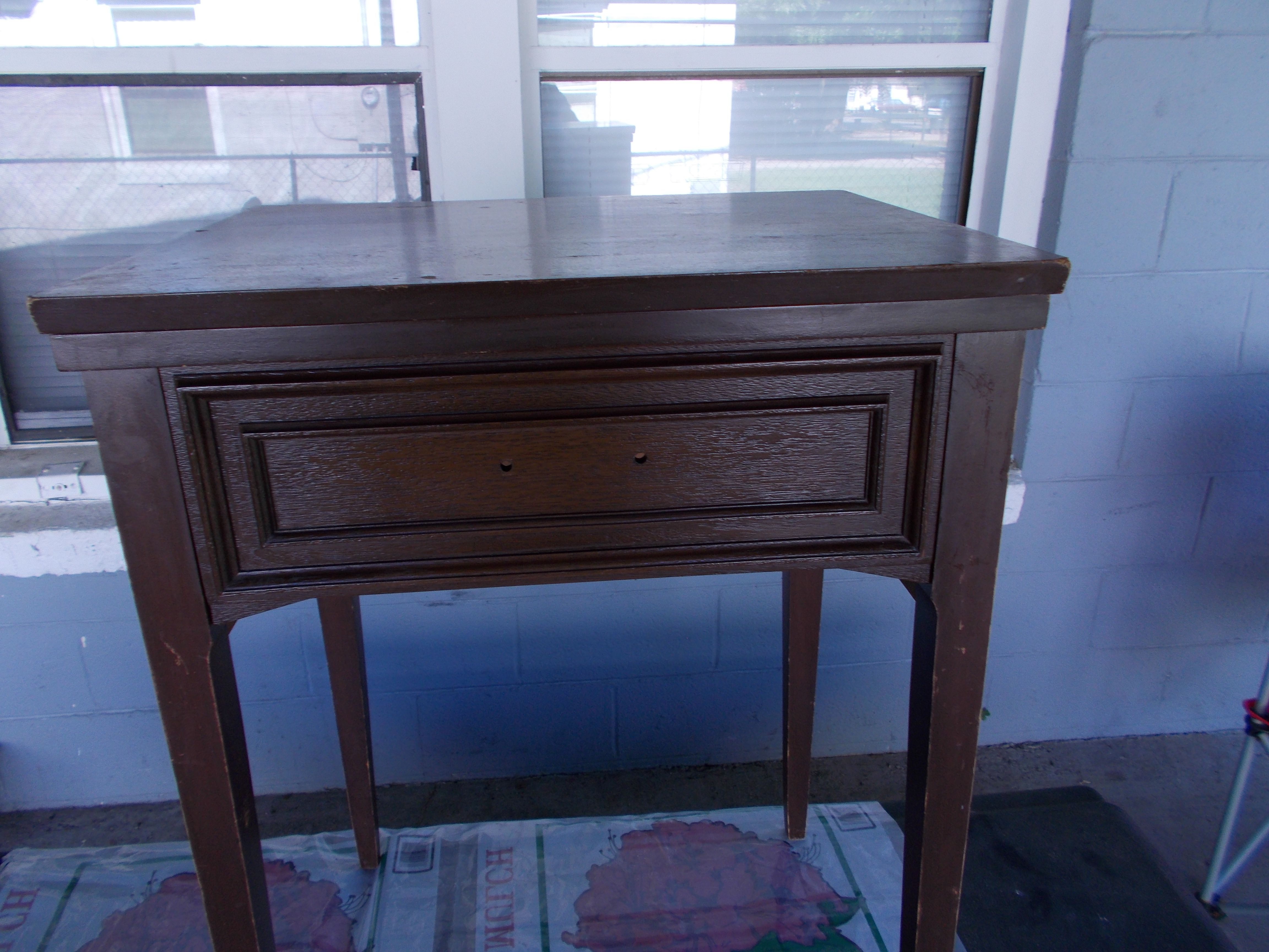 """2nd pic of """"before"""" sewing table from thrift store"""