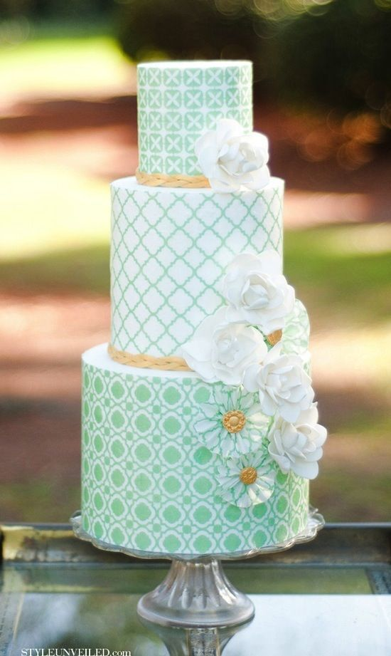 Wedding Cake Ideas Mint Green With Geometric Patterns