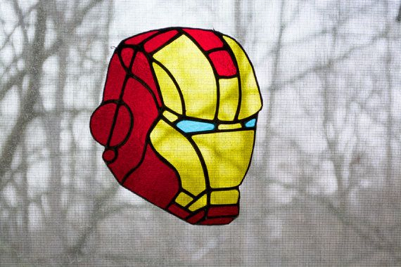 Marvel Comic Iron Man Mask Stained Glass Window Stained Glass Crafts Glass Mosiac Stained Glass