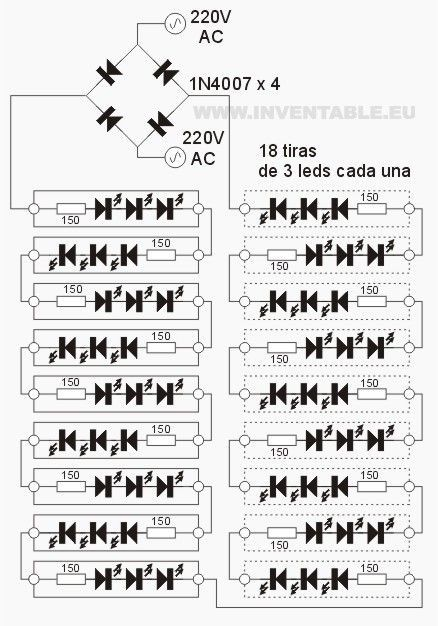 circuito electr u00f3nico de las tiras de leds con 220v