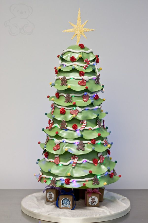 Christmas Tree Cake (with LED lights)