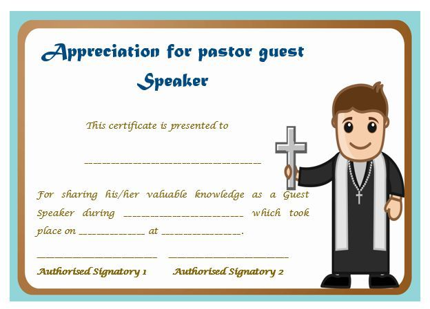certificate of appreciation for pastor guest speaker pastor
