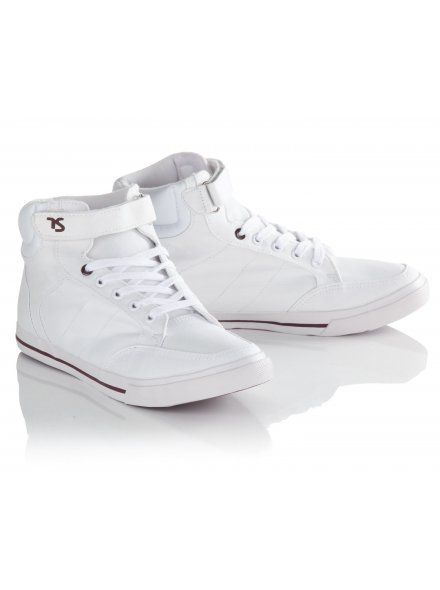 White Cotton Mid Top Trainers