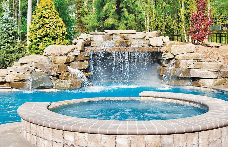 Inground Pools With Waterfalls pools with waterfalls & custom swimming pool designs | blue haven